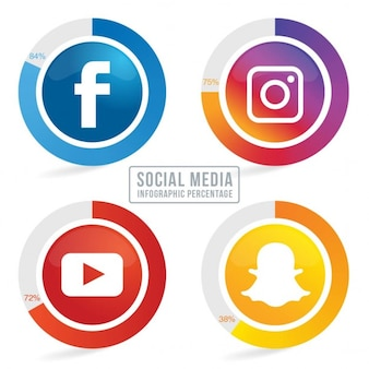 Four social network icons with infographic resources