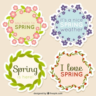 Four spring floral stickers