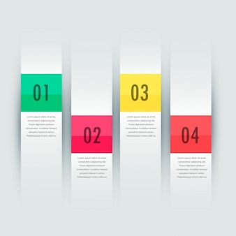 four steps infographic presentation banners template