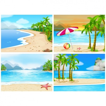 Four summer backgrounds