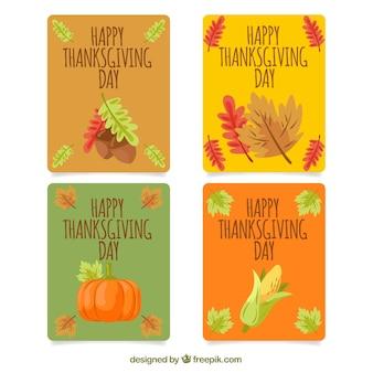 ヴィンテージスタイルの感謝祭カード4枚