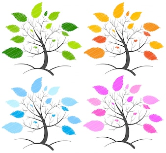 Four trees with different color leaves