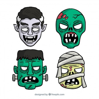 Four very scary masks: dracula, zombies and a mummy