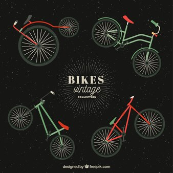 Four vintage bikes in flat design