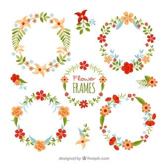Four vintage floral wreaths set