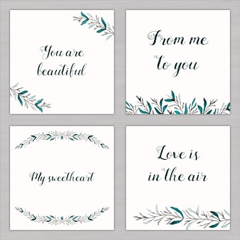 Four watercolor cards with love messages