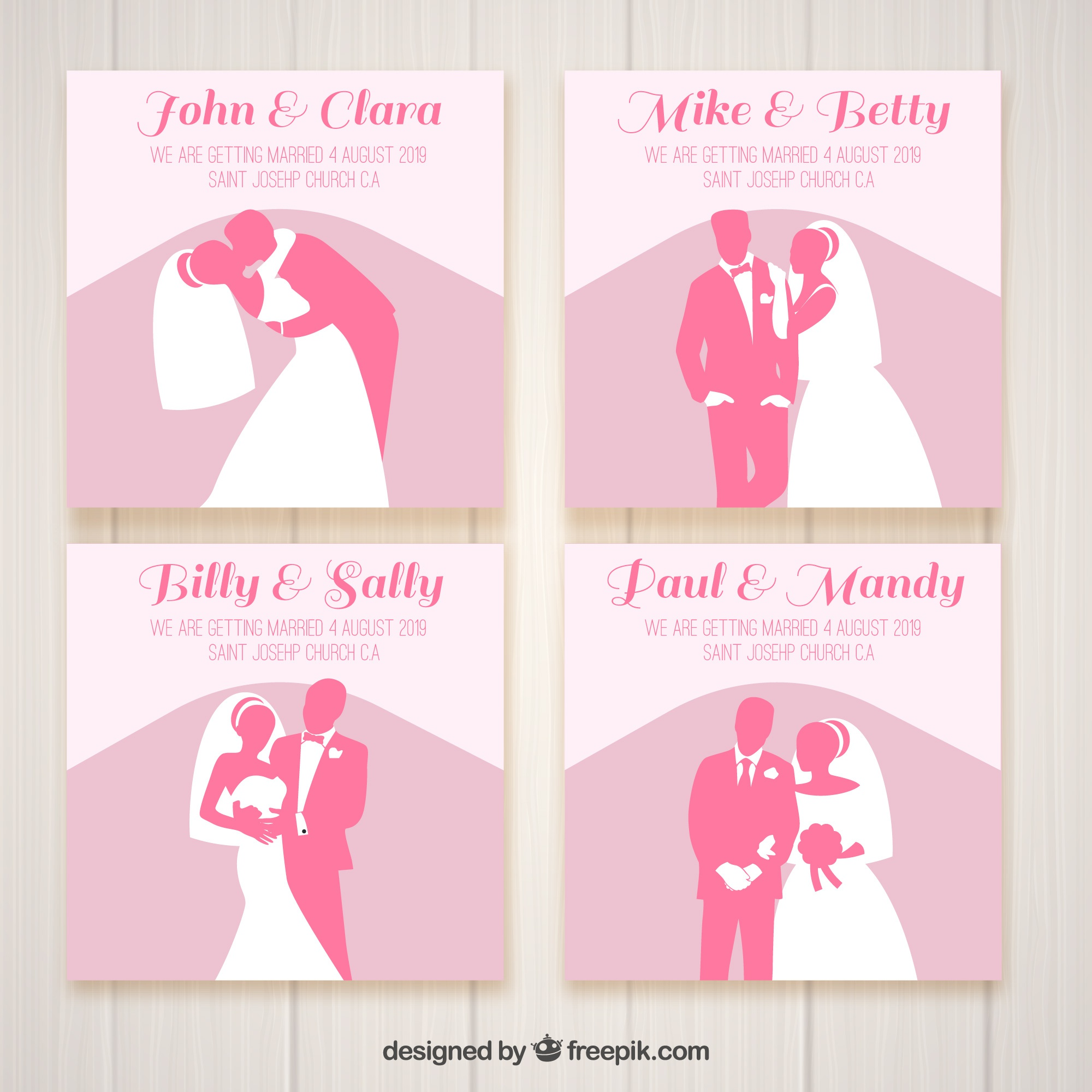Four wedding invitations with pink silhouettes