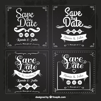 Four weddings cards for save the date, square shapes