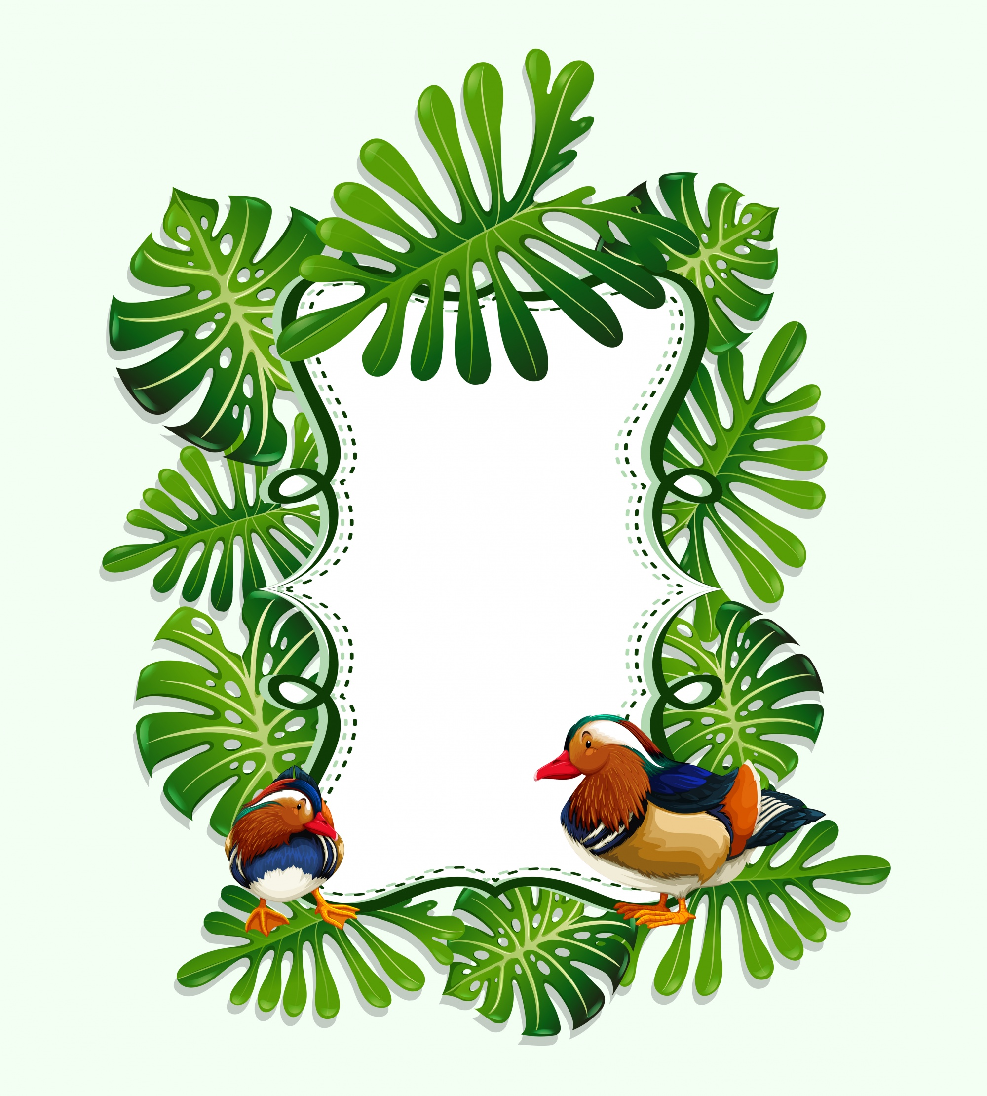 Frame design with leaves and bird