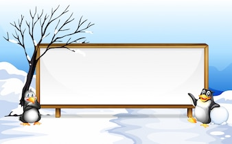 Frame design with penguin on snow illustration