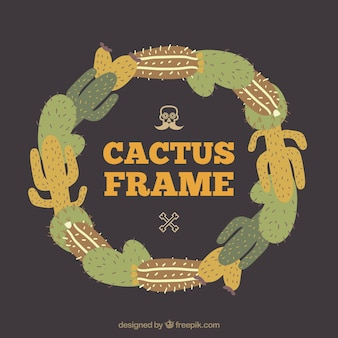 Frame with cacti in different colors