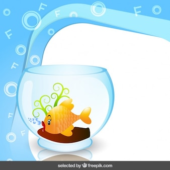 Frame with fish in fishbowl