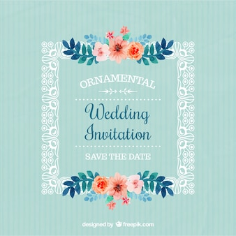 Frame with flowers wedding invitation