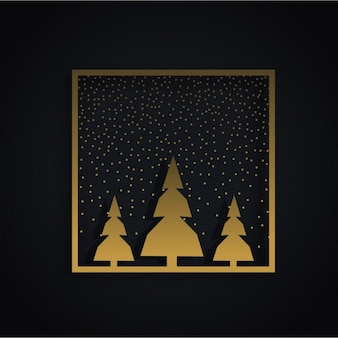 Frame with golden christmas trees