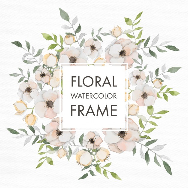 Frame with watercolor flowers