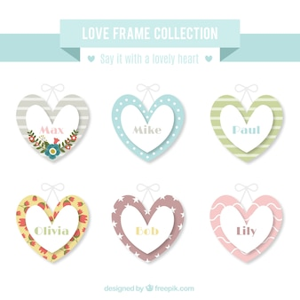 Frames heart shaped in vintage style