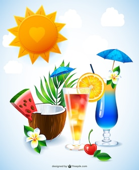 Free cocktail drinks illustration