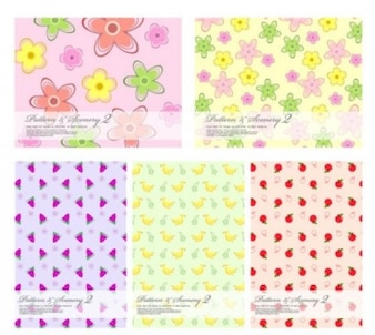 Free flower lovely fruit vector background cute fashion children star colorful pink red yellow green soft