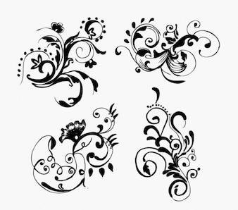 free hand drawn floral vector graphics