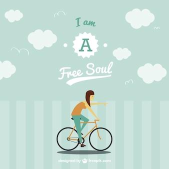 Free spirit on bike background