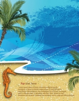 Free vector summer beach background  palm sand water wave holidays