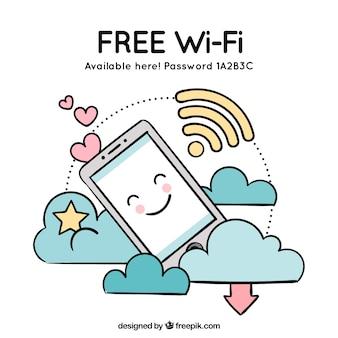 携帯電話と雲の無料の無線LANの背景