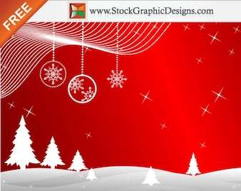 Freebie  Winter Red Background Vector with Christmas Trees