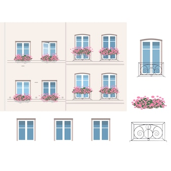 French balconies with flowers