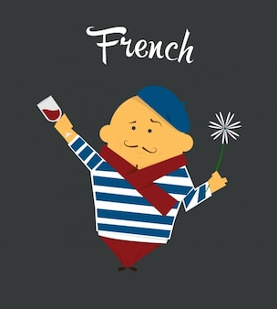 French Man Flat Illustration