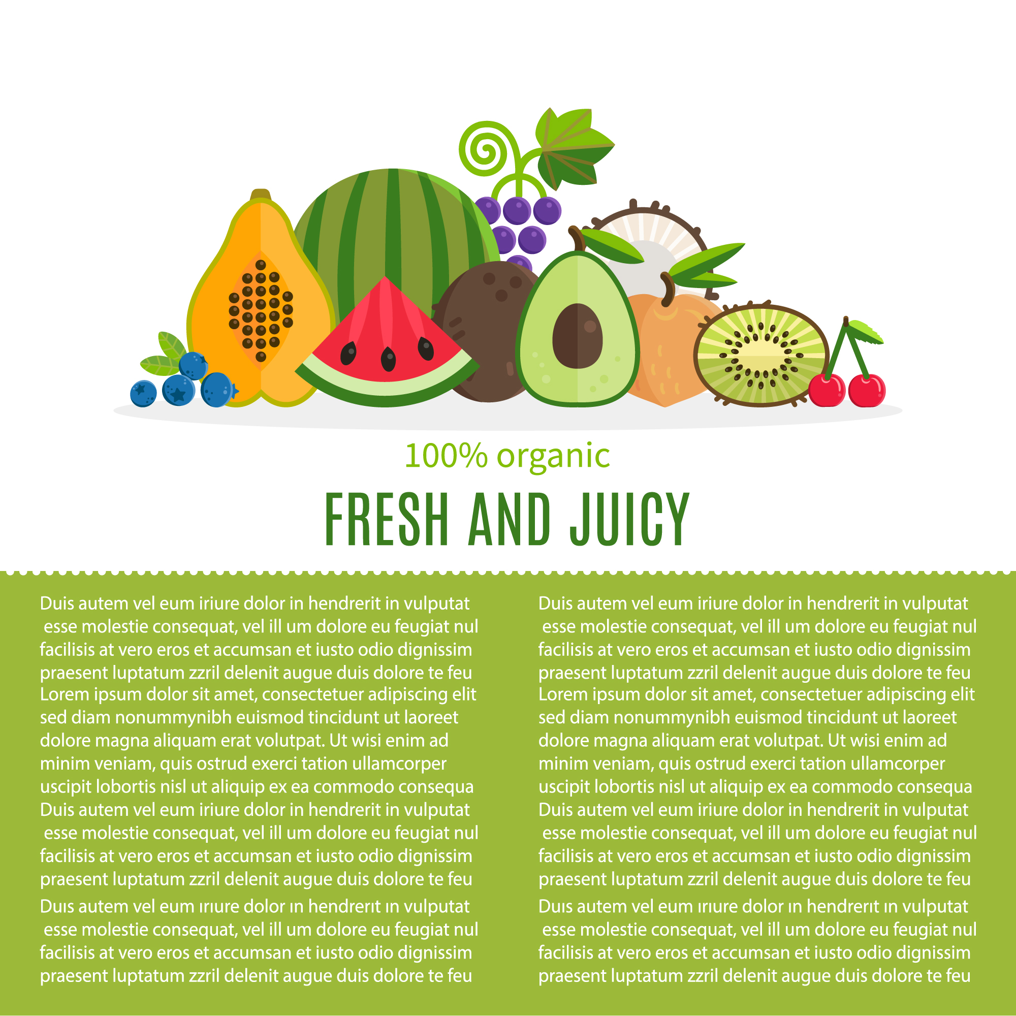 Fresh fruit background with text template