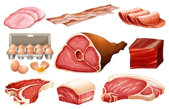Fresh ingredient for meat products illustration