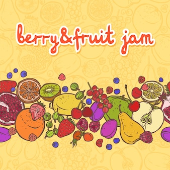 Fresh natural fruit and berries food decorative horizontal border vector illustration
