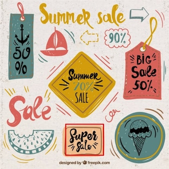 Fresh summer sale cards, hand drawn