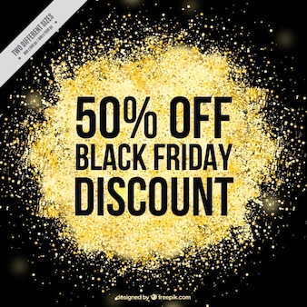 Friday black background with golden glitter
