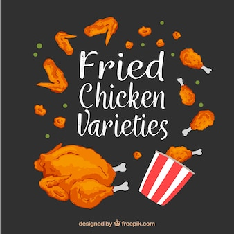 Fried chicken varieties background