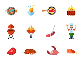 Fried food icon set