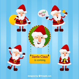 Friendly characters of santa claus
