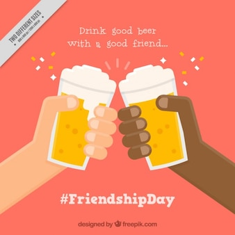 Friends with beers in flat design background