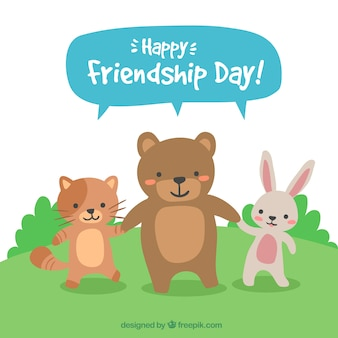 Friendship day background with animals
