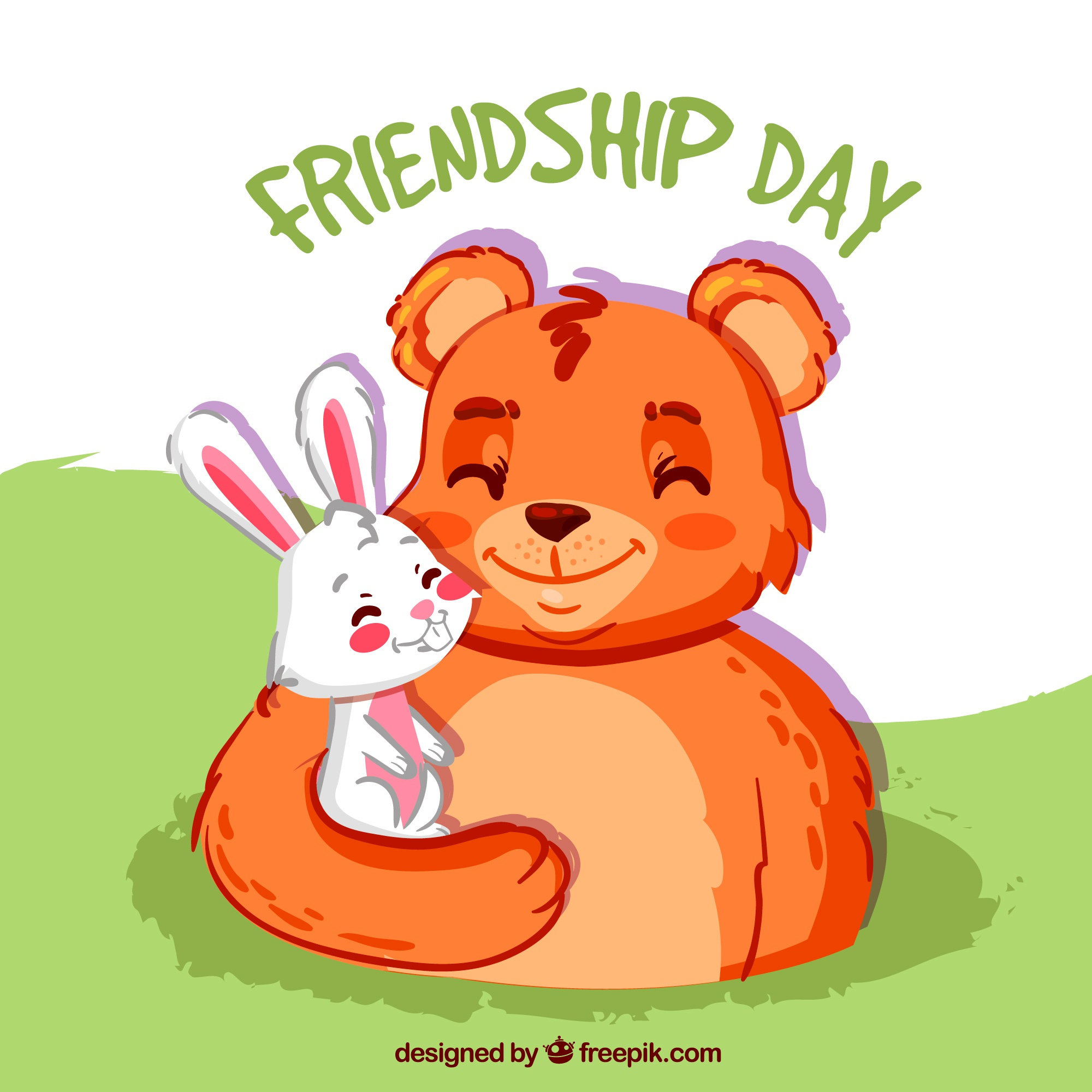 Friendship day background with bear and rabbit