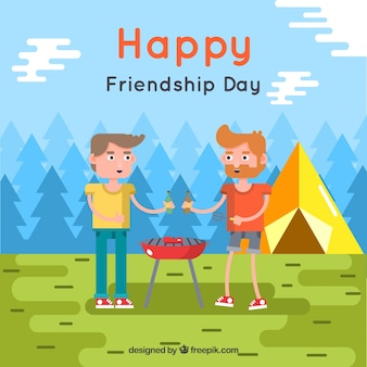 Friendship day background with friends and barbecue