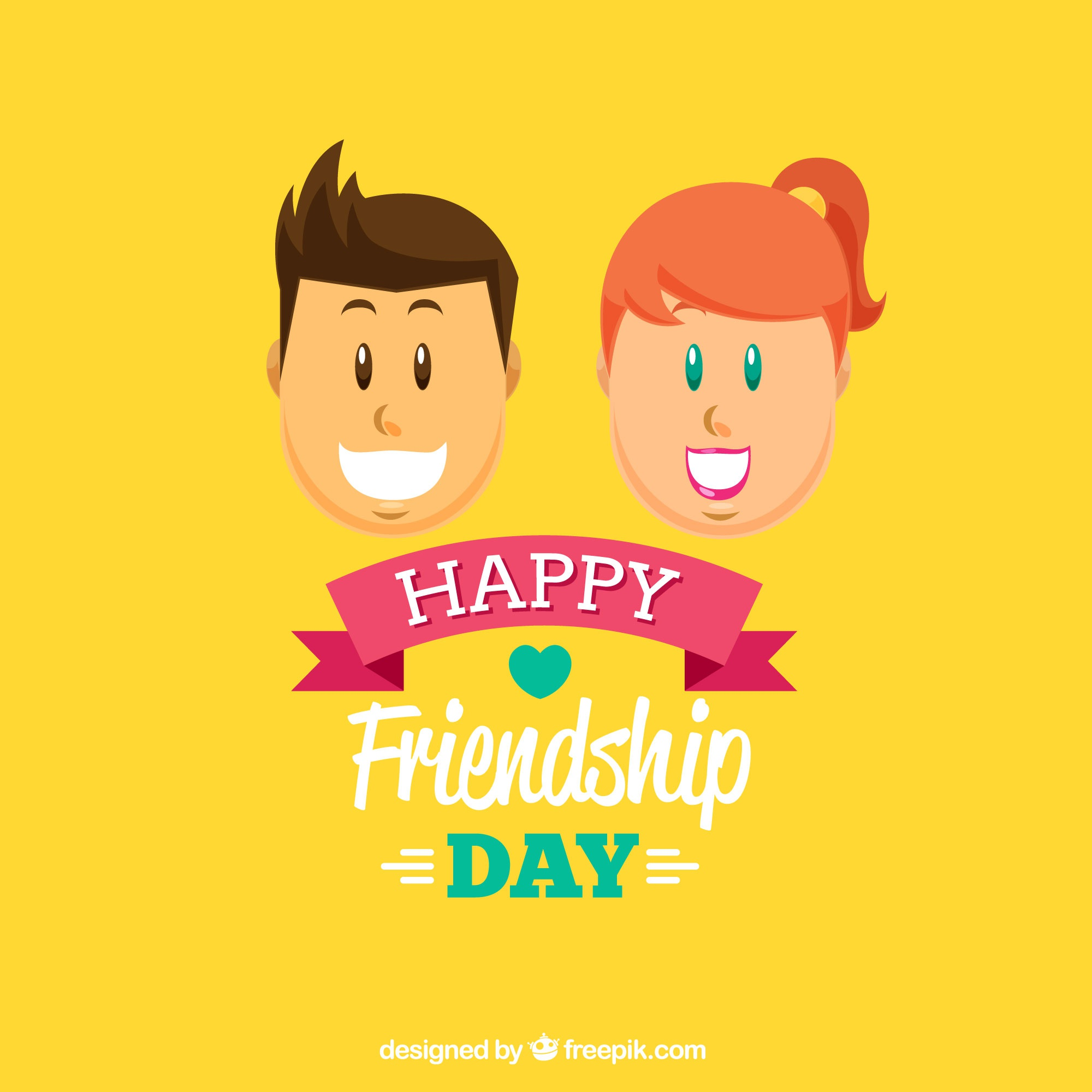 Friendship day background with man and woman characters