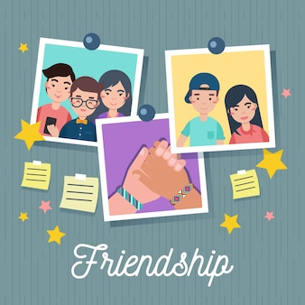 Friendship day background with photos