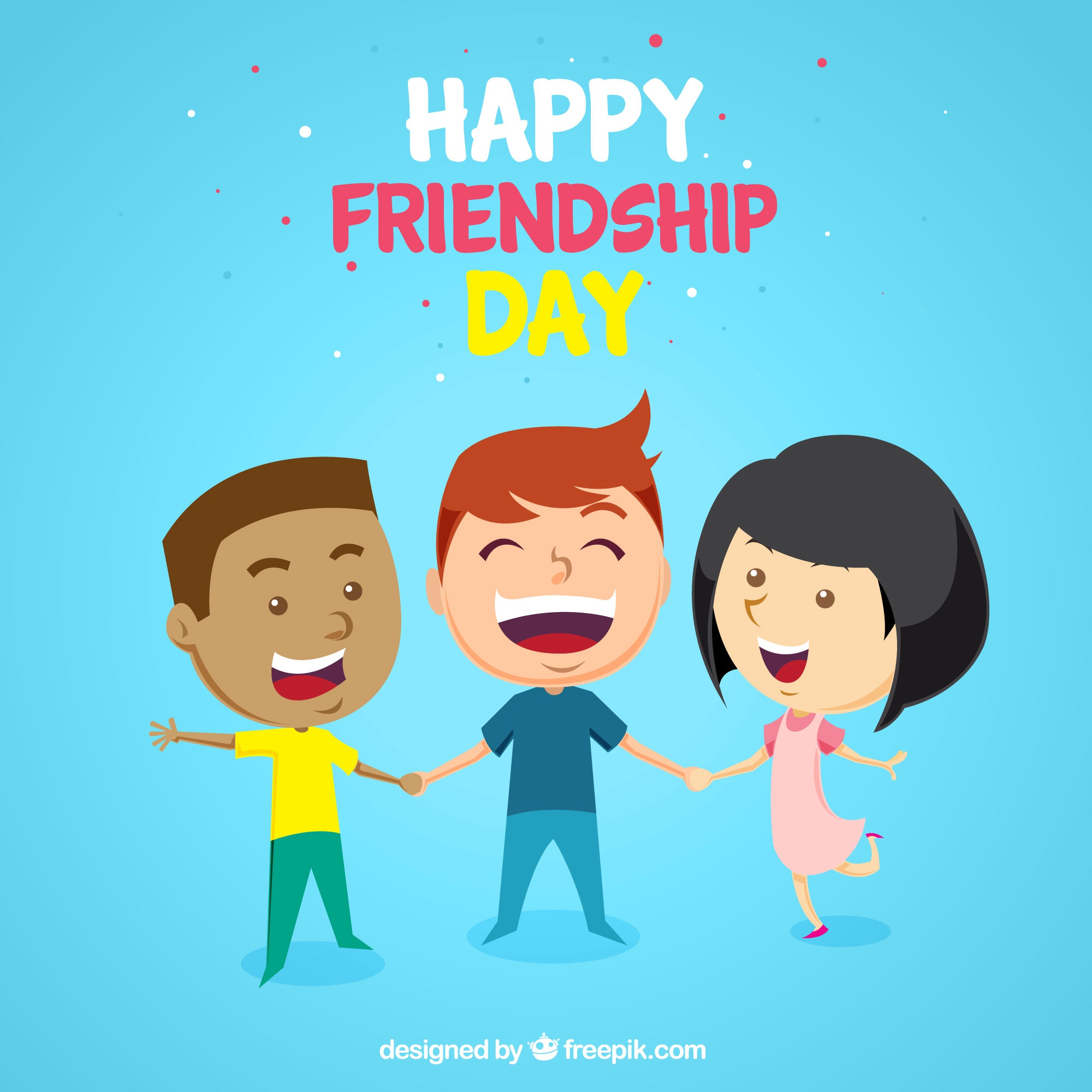 Friendship day background with three happy friends