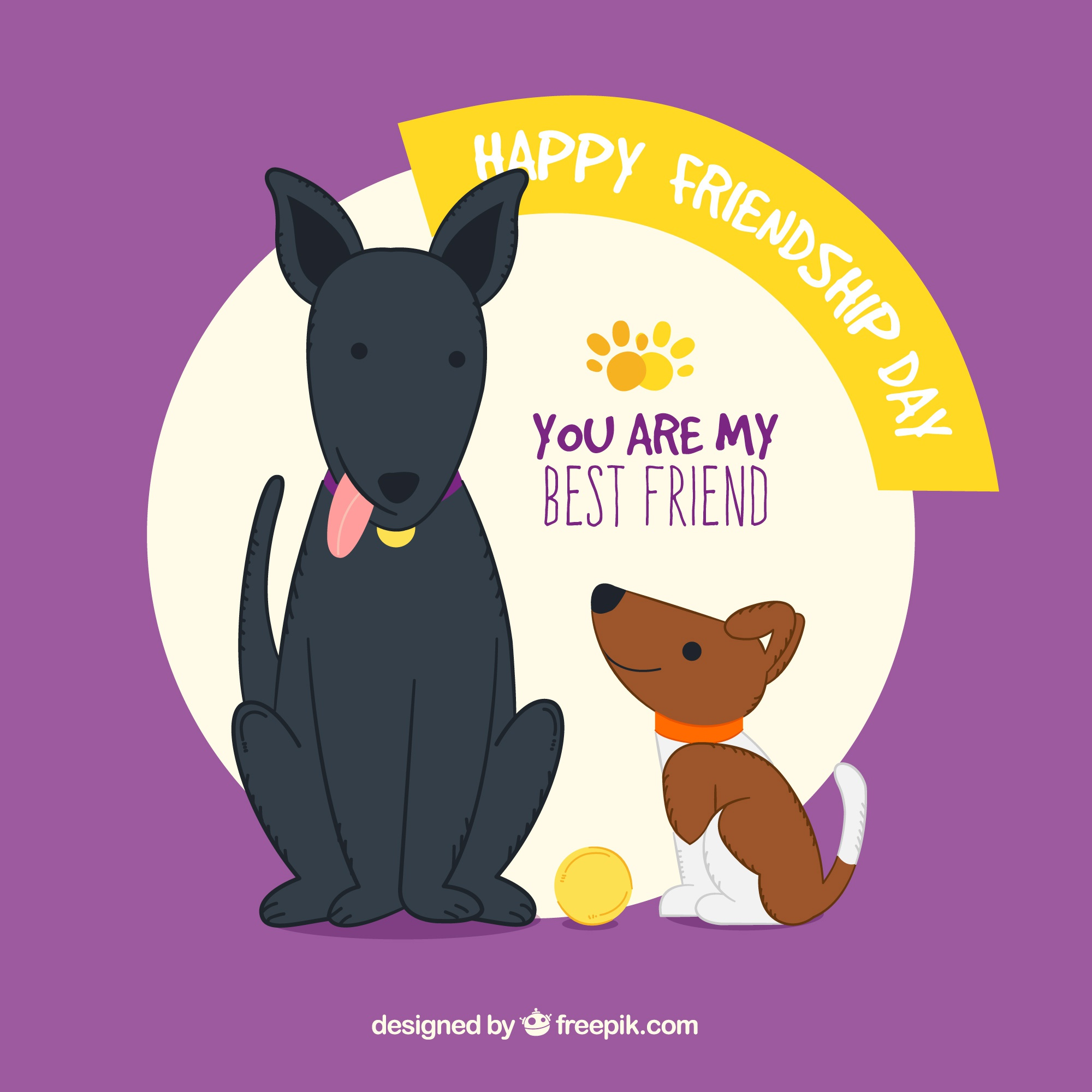 Friendship day background with two dogs