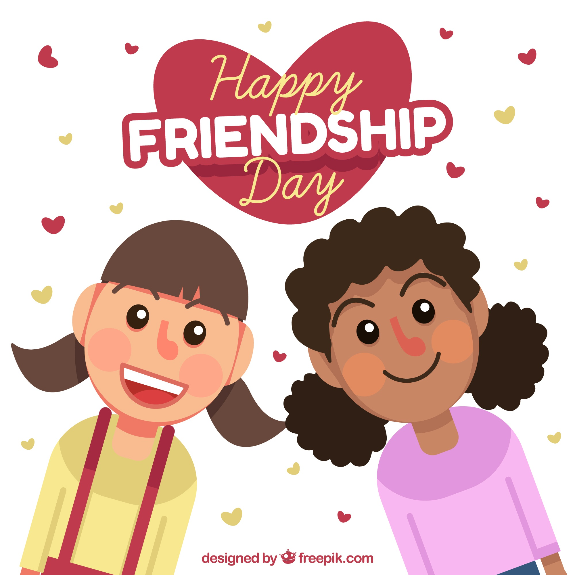 Friendship day background with two girls