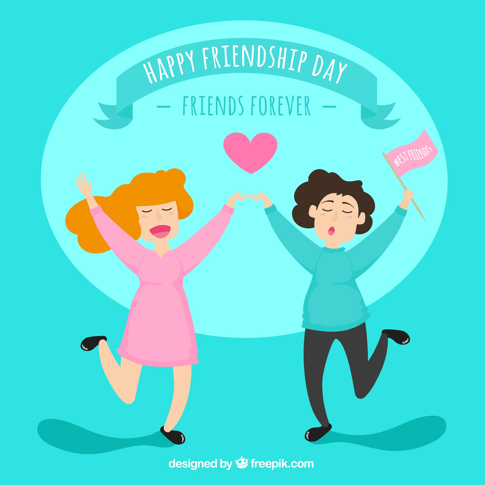 Friendship day background with two happy women