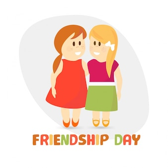 Friendship day design with two children