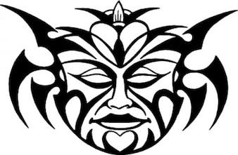Front demon mask tattoo