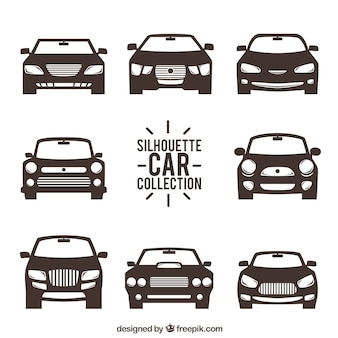 Front view of car silhouettes